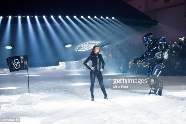 Irina Shayk walks the runway at the Philipp Plein fashion show during New York Fashion Week The Shows on February 10 2018 in New York City