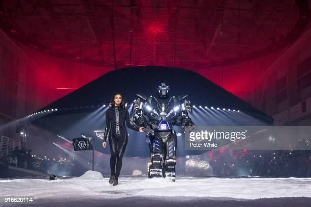 Irina Shayk walks the runway at the Philipp Plein Fashion Show during New York Fashion Week on February 10 2018 in New York City
