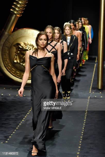 Irina Shayk walks the runway at the Versace Ready to Wear Fall/Winter 2019-2020 fashion show at Milan Fashion Week Autumn/Winter 2019/20 on February...