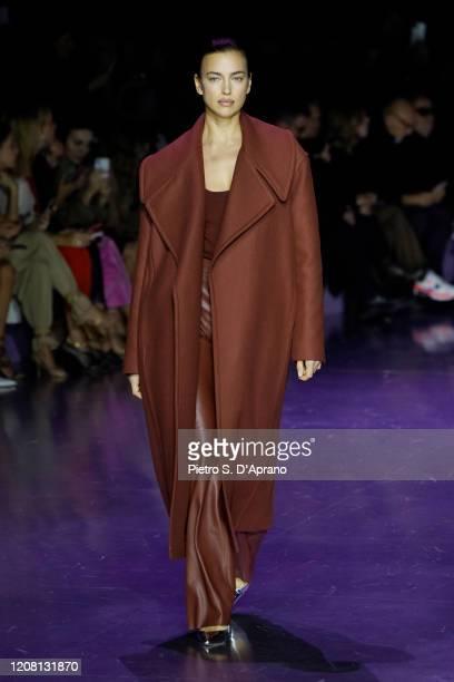 Irina Shayk walks the runway during the Boss fashion show as part of Milan Fashion Week Fall/Winter 2020-2021 on February 23, 2020 in Milan, Italy.