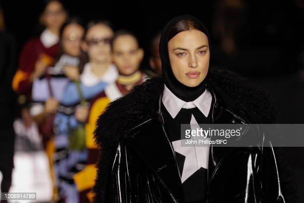 Irina Shayk walks the runway during the finale at the Burberry show during London Fashion Week February 2020 on February 17, 2020 in London, England.