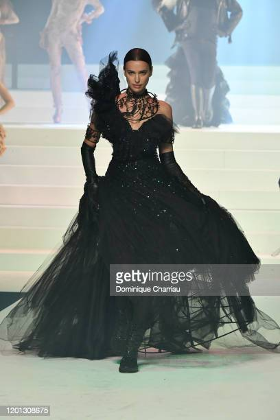 Irina Shayk walks the runway during the Jean-Paul Gaultier Haute Couture Spring/Summer 2020 show as part of Paris Fashion Week at Theatre Du Chatelet...