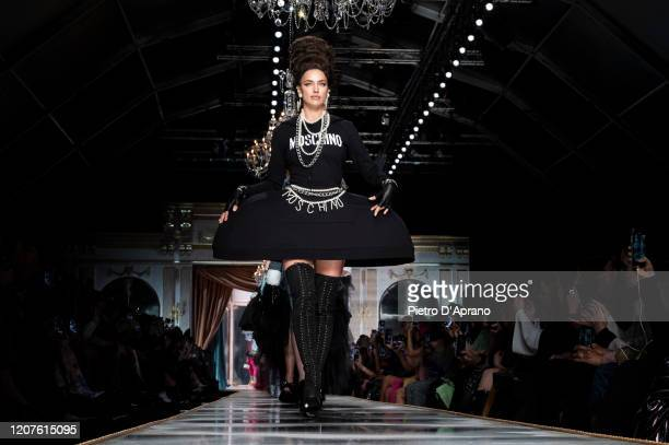 Irina Shayk walks the runway during the Moschino fashion show as part of Milan Fashion Week Fall/Winter 2020-2021 on February 20, 2020 in Milan,...