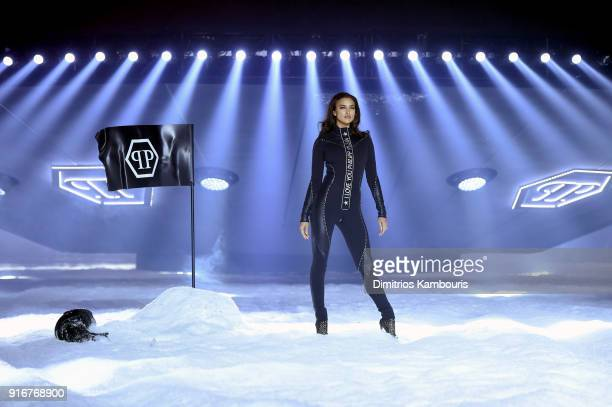 Irina Shayk walks the runway during the Philipp Plein fashion show during New York Fashion Week The Shows on February 10 2018 in New York City