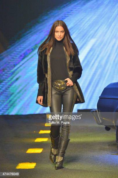 Irina Shayk walks the runway during the Philipp Plein show as part of Milan Fashion Week Womenswear Autumn/Winter 2014 on February 23 2014 in Milan...