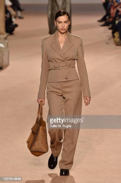 Irina Shayk walks the runway during the Salvatore Ferragamo fashion show as part of Milan Fashion Week Fall/Winter 20202021 on February 22 2020 in...