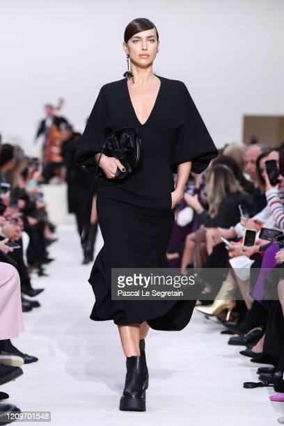 Irina Shayk walks the runway during the Valentino as part of the Paris Fashion Week Womenswear Fall/Winter 2020/2021 on March 01, 2020 in Paris,...