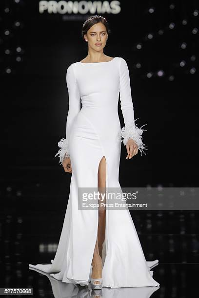Irina Shayk walks the runway for Pronovias bridal collection during the 'Barcelona Bridal Fashion Week 2016' at Italian Pavilion of Fira Barcelona on...