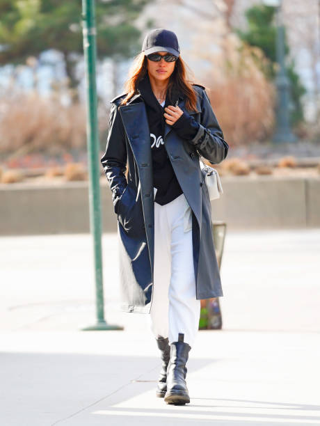 Irina Shayk wears a Burberry bag when out and about on January 30 2020 in New York City