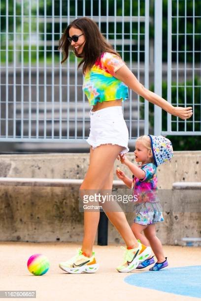 Irina Shayk with her daughter Lea De Seine Shayk Cooper are seen in the West Village on July 17, 2019 in New York City.