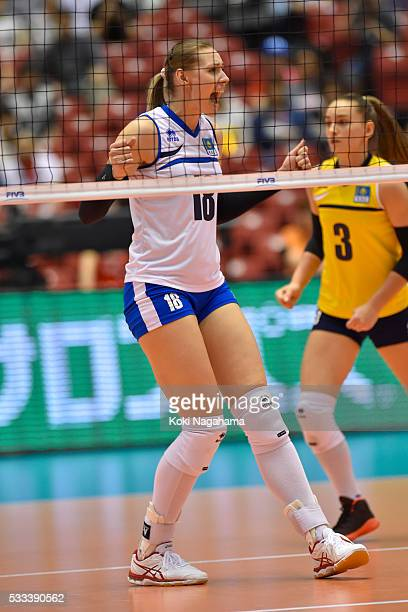 Irina Shenberger of Kazakhstan celebrates a point during the Women's World Olympic Qualification game between Italy and Kazakhstan at Tokyo...
