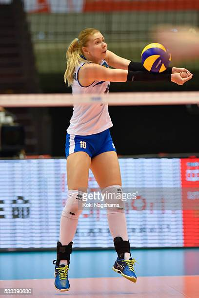 Irina Shenberger of Kazakhstan receives the ball during the Women's World Olympic Qualification game between Italy and Kazakhstan at Tokyo...