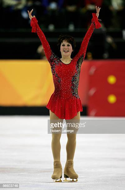 Irina Slutskaya of Russia acknowledges the crowd after her performance during the women's Free Skating program of figure skating during Day 13 of the...