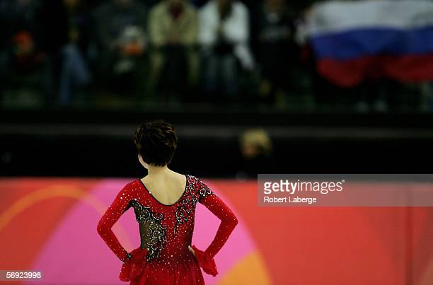 Irina Slutskaya of Russia after her performance during the women's Free Skating program of figure skating during Day 13 of the Turin 2006 Winter...