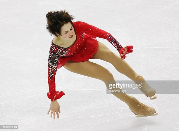 Irina Slutskaya of Russia falls during her performance during the women's Free Skating program of figure skating during Day 13 of the Turin 2006...