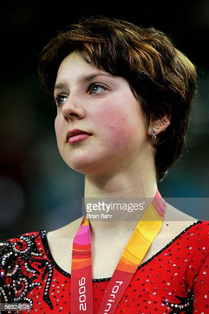 Irina Slutskaya of Russia wins the bronze medal in the women's Free Skating program of figure skating during Day 13 of the Turin 2006 Winter Olympic...