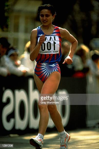 Irina Stankina of Russia in action during the 1997 World Cup Race of Walking held in Podebrady Czechoslovakia Mandatory Credit Gray Mortimore...