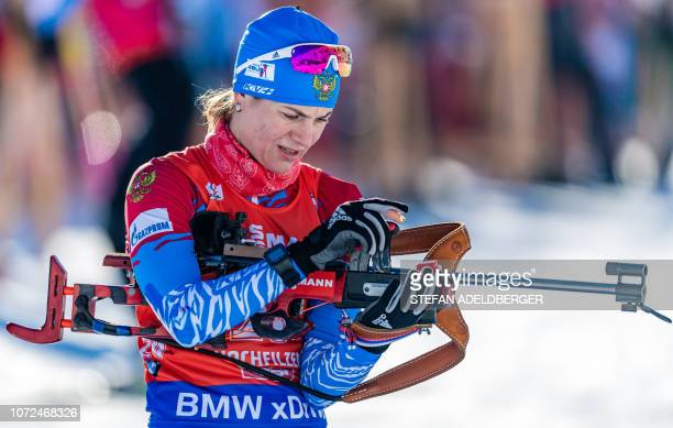 Irina Starykh of the Russian Federation competes during the women's sprint of the IBU Biathlon World Cup in Hochfilzen Austria on December 13 2018 /...