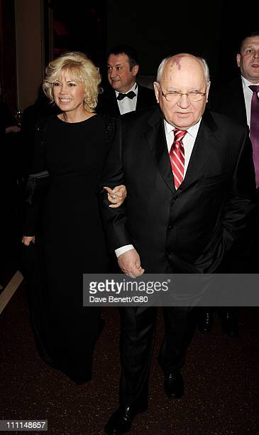 Irina Virganskaya and Former Soviet leader Mikhail Gorbachev attend the Gorby 80 Gala at the Royal Albert Hall on March 30 2011 in London England The...