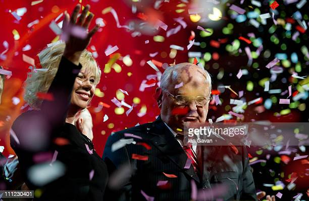 Irina Virganskaya and Mikhail Gorbachev appear on stage during the finale of the Gorby 80 Gala at the Royal Albert Hall on March 30 2011 in London...