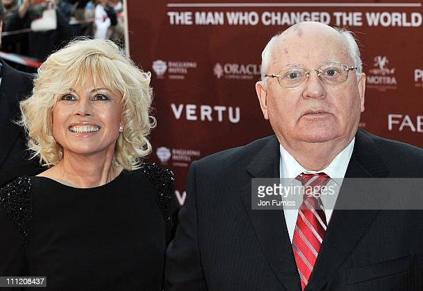 Irina Virganskaya and Mikhail Gorbachev arrive at the Gorby 80 Gala Concert at Royal Albert Hall on March 30 2011 in London England
