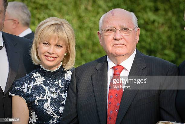 Irina Virganskaya and Mikhail Gorbachev attend the annual Raisa Gorbachev Foundation Party at Stud House Hampton Court on June 5 2010 in London...
