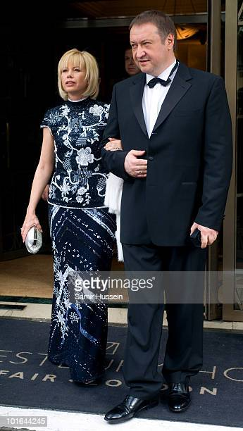 Irina Virganskaya daughter of Mikhail Gorbachev and Andrei Trychachev leave the Westbury Hotel on their way to the Raisa Gorbachev Foundation Party...