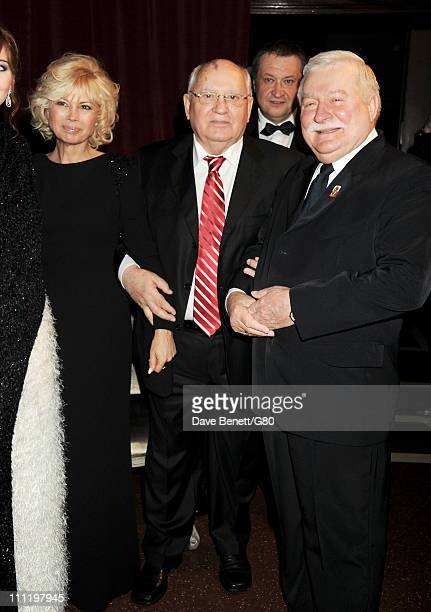 Irina Virganskaya Former Soviet leader Mikhail Gorbachev Andrey Trukhachev and Former Polish President Lech Walesa attend the Gorby 80 Gala at the...