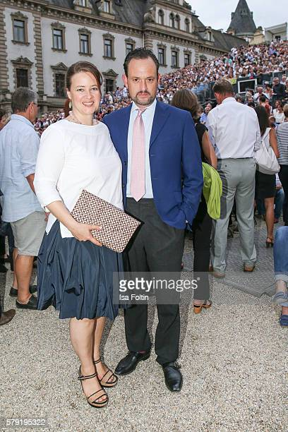 Irina von SchoenburgGlauchau and her husband Alexander von SchoenburgGlauchau attend the Joan Baez Concert during the Thurn Taxis Castle Festival...