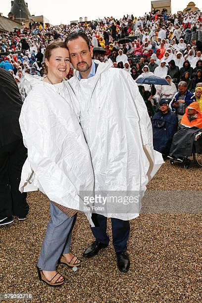 Irina von SchoenburgGlauchau and her husband Alexander von SchoenburgGlauchau attend the Scorpions Concert during the Thurn Taxis Castle Festival...