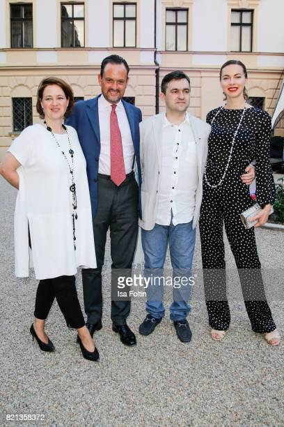 Irina von SchoenburgGlauchau with her husband Alexander von SchoenburgGlauchau and Russian politician Stanislav Voskresensky with Russian actress...