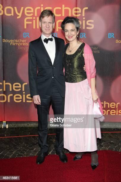 Irina Wanka and husband attend the Bavarian Film Award 2014 at Prinzregententheater on January 17 2014 in Munich Germany