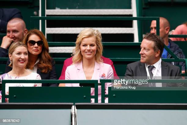 Irina Weber, Gerry Weber testimonial international supermodel Eva Herzigova, and Ralf Weber, CEO Gerry Weber, during the Gerry Weber Open 2018 at...