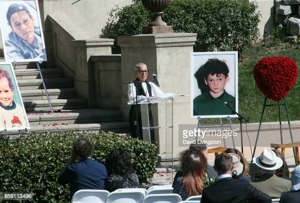 Irina Yelchin actor Anton Yelchin's mother speaks at the Anton Yelchin life celebration and statue unveiling ceremony at Hollywood Forever on October...