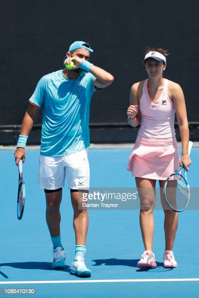Irina-Camelia Begu and Horia Tecau of Romania compete in their first round mixed doubles against Nicole Melichar of the United States and Bruno...