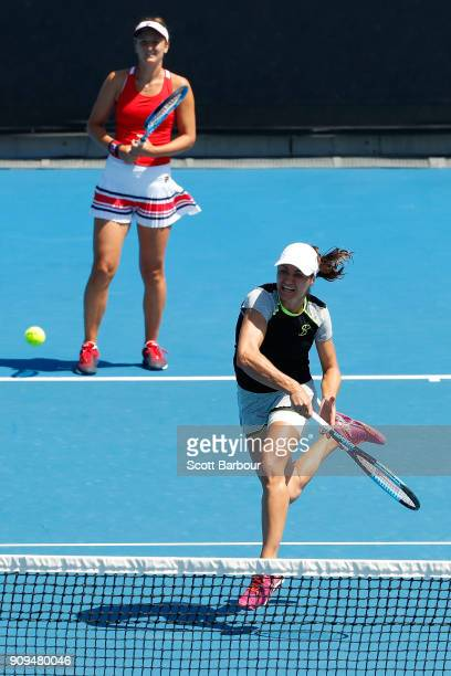 IrinaCamelia Begu of Romania and Monica Niculescu of Romania compete in their women's doubles semifinal match against Ekaterina Makarova of Russia...