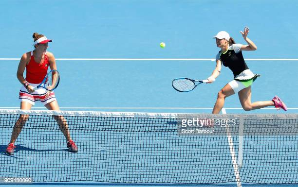 IrinaCamelia Begu of Romania and Monica Niculescu of Romania compete in their women's doubles semifinal match against Ekaterina Makarova of Russia...