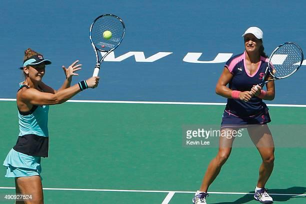 IrinaCamelia Begu of Romania and Monica Niculescu of Romania in action against Andrea Hlavackova of Czech Republic and Lucie Hradecka of Czech...