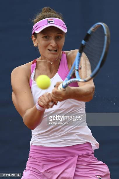 Irina-Camelia Begu of Romania competes in her Women's Singles Quarter Final match against Sara Sorribes Tormo of Spain during the WTA Prague Open...