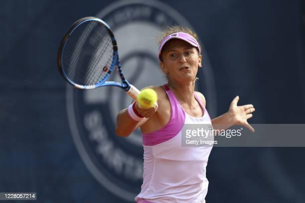 Irina-Camelia Begu of Romania competes in her Women's Singles Semi Final match against Simona Halep of Romania during the WTA Prague Open tennis...