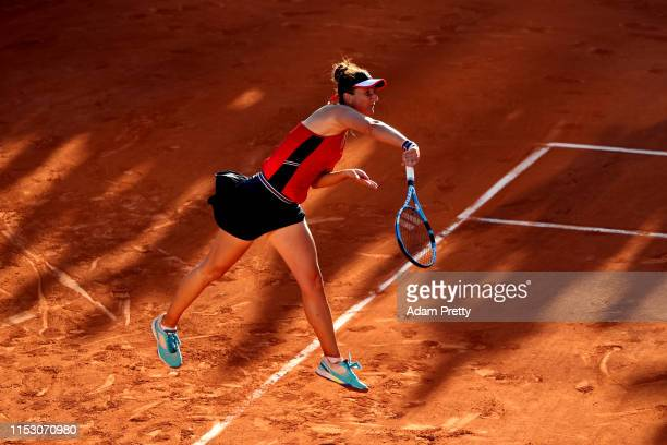 Irina-Camelia Begu of Romania during her ladies singles third round match against Amamda Anisimova of The United States during Day seven of the 2019...