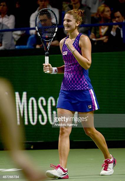 Irina-Camelia Begu of Romania during her women singles tennis match on the 5th day of Kremlin Cup 2014 Tennis Tournament at the Olympic Stadium in...