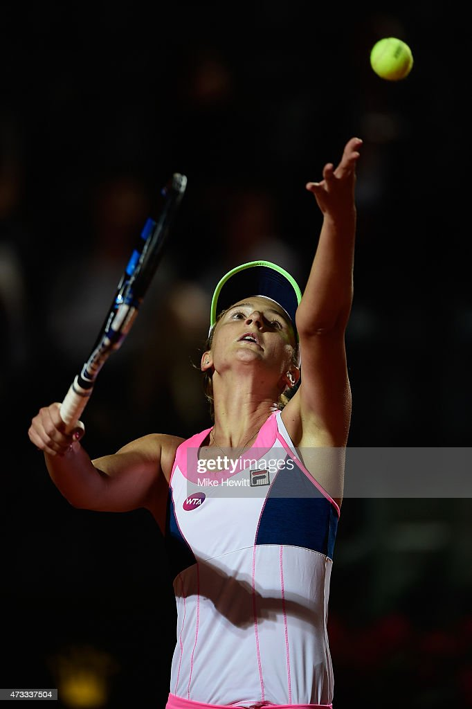 Irina-Camelia Begu of Romania in action during her Third Round match against Victoria Azarenka of Belarus on Day Five of The Internazionali BNL d'Italia 2015 at the Foro Italico on May 14, 2015 in Rome, Italy.