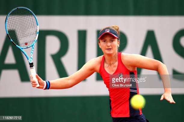 Irina-Camelia Begu of Romania plays a forehand during her ladies singles second round match against Karolina Muchova of The Czech Republic during Day...