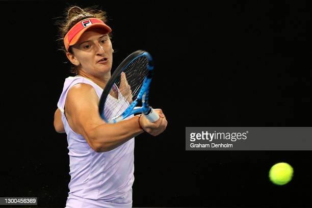 Irina-Camelia Begu of Romania plays a forehand in her match against Naomi Osaka of Japan during day six of the WTA 500 Gippsland Trophy at Melbourne...