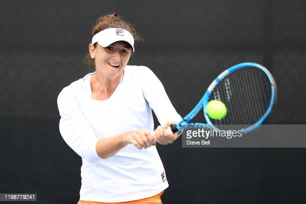 Irina-Camelia Begu of Romania plays a shot during day one of the 2020 Hobart International at Domain Tennis Centre on January 11, 2020 in Hobart,...