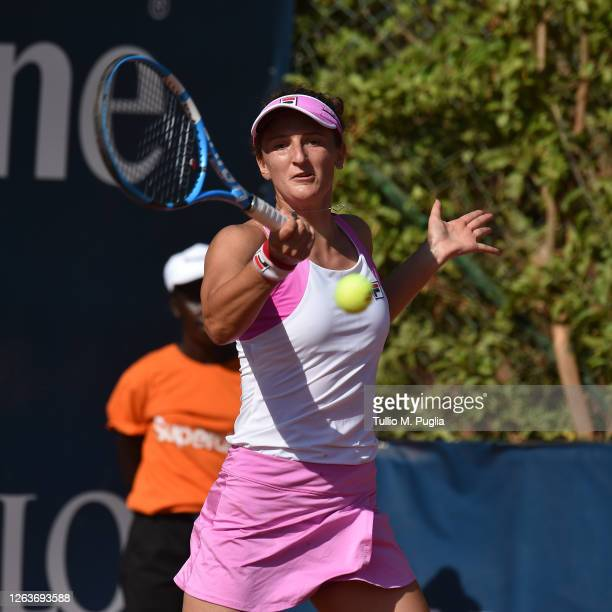 Irina-Camelia Begu of Romania returns a shot against Laura Siegemund of Germany during the 31st Palermo Ladies Open - Day One on August 03, 2020 in...