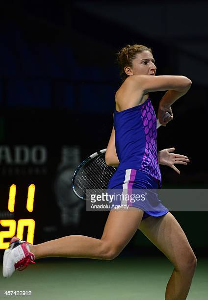Irina-Camelia Begu of Romania returns a shot against Lucie Safarova of Czech Republic during the Women's singles on semifinal match of Kremlin Cup...