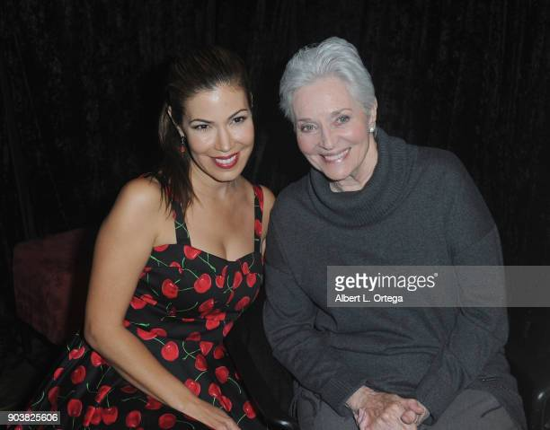 Iris Almario poses with actress Lee Meriwether at The Batman '66 Exhibit Opening held at The Hollywood Museum on January 10 2018 in Hollywood...