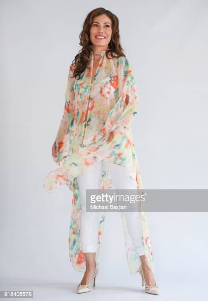 Iris Almario wearing SiMee Collections at The Artists Project Giveback Day on February 14 2018 in Los Angeles California